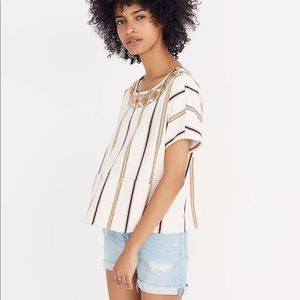Madewell Embroidered Boxy Top Rocco Stripe small